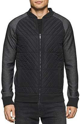 Calvin Klein Jeans Men's Nylon Quilted Full Zip Sweater
