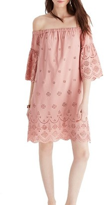 Women's Madewell Eyelet Off The Shoulder Dress $158 thestylecure.com