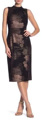 Nine West DRESS Metallic Mock Neck Sheath Dress