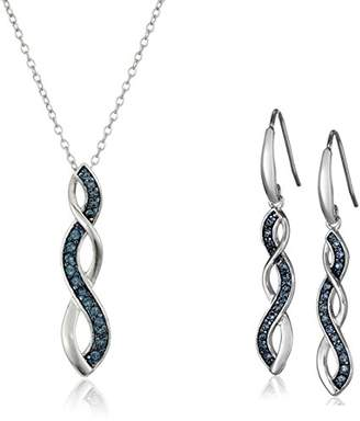 Swarovski Amazon Collection Sterling Silver Montana Twisted Pendant Necklace and Dangle Earrings Set Made with Crystal