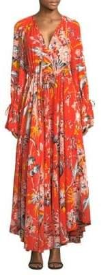 Diane von Furstenberg Long Sleeve Silk Maxi Dress