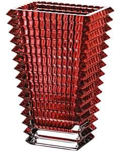 Baccarat Eye Crystal Small Rectangular Vase-Red