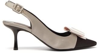 Gabor Fabrizio Viti Bow Embellished Satin Slingback Pumps - Womens - Black Grey