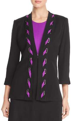 Misook Lace-Up Cardigan