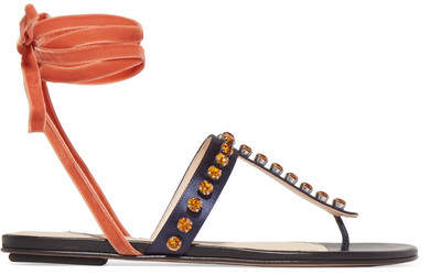 Attico Vanessa Embellished Satin And Velvet Sandals - Storm blue
