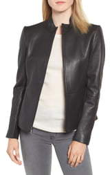 Via Spiga Stand Collar Leather Jacket