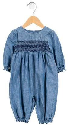Ralph Lauren Girls' Chambray Ruffle-Trimmed All-In-One