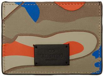 Valentino Blue and Orange Garavani Camo Card Holder