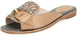 Rene Caovilla Satin and Wood Flat Slide Sandal