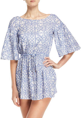 Milly Lynda Boat-Neck Elbow-Sleeve Swim Coverup