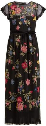 RED Valentino Floral Embroidered Georgette Dress - Womens - Black Multi