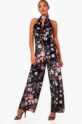 boohoo Halterneck Oriental Velvet Wide Leg Jumpsuit