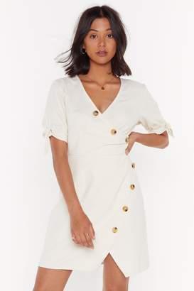 Nasty Gal Womens Take Button Me Linen Mini Dress - Cream - 6
