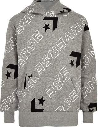 Converse Boys Grey logo print hoodie