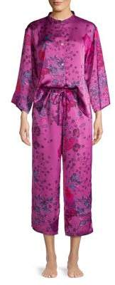 Natori N Impressions Two-Piece Floral Satin Pajama Set