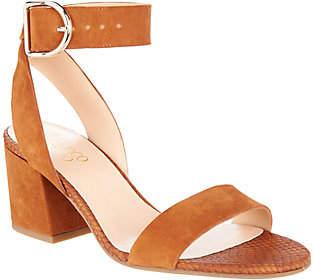 Franco Sarto Suede Block Heel Sandals - Marcy
