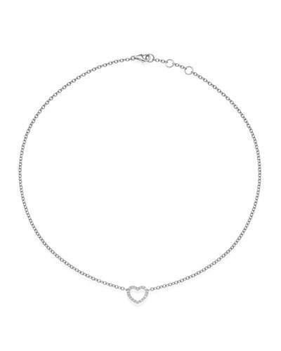 Eden 18k White Gold Diamond Single Heart Pendant Necklace