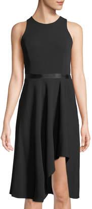 Calvin Klein Sleeveless Ribbon-Waist High-Low Dress