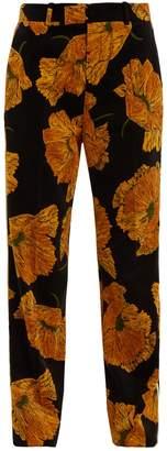 Gucci Poppy-print straight-leg velvet trousers