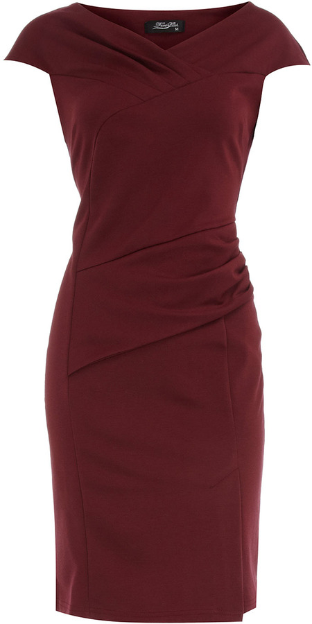 Feverfish Burgundy pleat dress