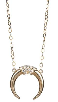 Candela 14K Yellow Gold Pave CZ Crescent Moon Pendant Necklace