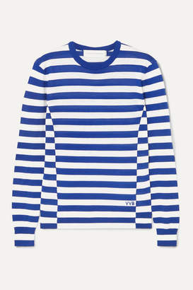 Victoria Victoria Beckham Victoria, Victoria Beckham - Embroidered Striped Wool Sweater - Blue