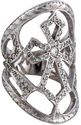 Loree Rodkin 18K Diamond Cross Shield Ring