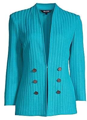 Misook Women's Double-Button Knit Stripe Jacket