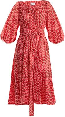 Lisa Marie Fernandez Floral-embroidered balloon-sleeve cotton dress