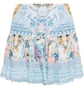 Camilla Girl Next Door Embellished Printed Voile Mini Skirt