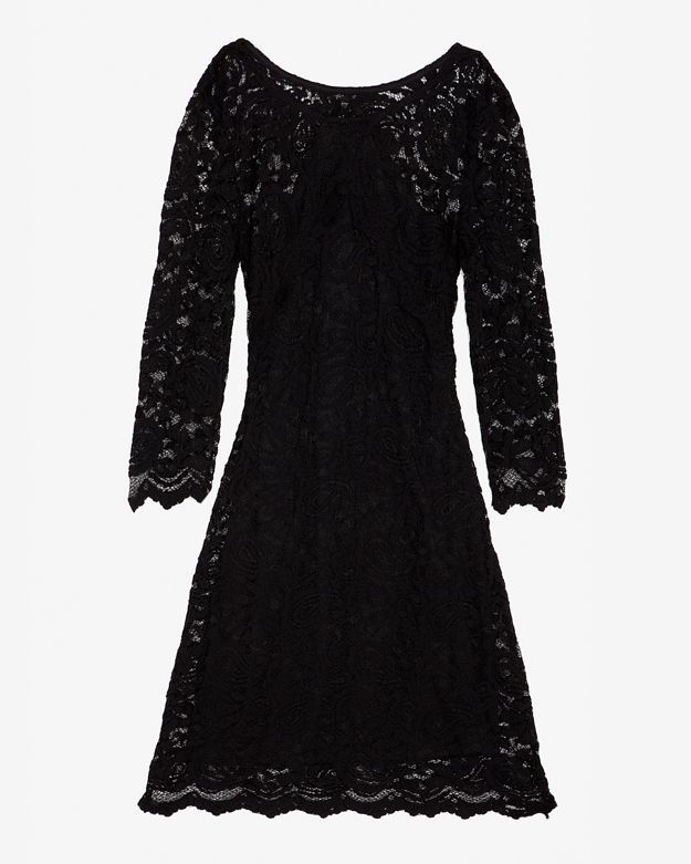 Gilber Gilmore 3/4 Sleeve Open Back Lace Dress