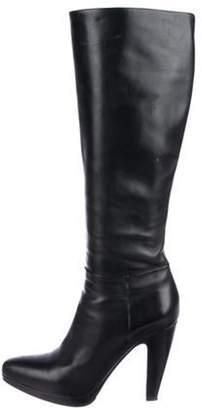 Prada Leather Round-Toe Knee-High Boots Black Leather Round-Toe Knee-High Boots