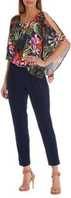Betty Barclay Printed Chiffon And Jersey Jumpsuit, Peacoat Blue