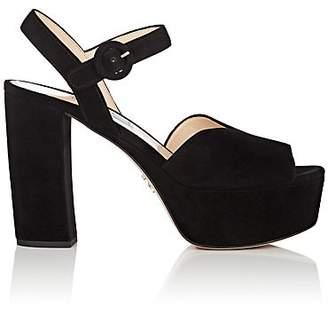 Prada Women's Suede Platform Ankle-Strap Sandals - Nero