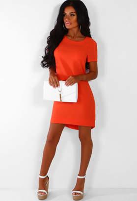 Pink Boutique Bright Life Orange Zip Back Shift Dress