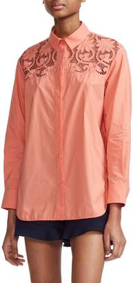 Maje Caponi Lace Yoke Long Sleeve Shirt