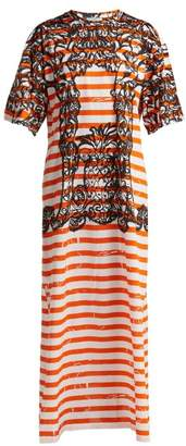 Prada Baroque Print Striped Cotton T Shirt Dress - Womens - Orange Print