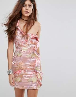 5d67f364db Glamorous One Shoulder Dress in Floral Brocade