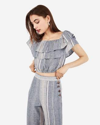 Express Multi-Stripe Linen-Blend Tiered Ruffle Cropped Top