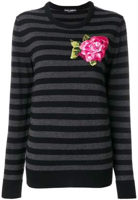 Dolce & Gabbana embroidered applique flower jumper