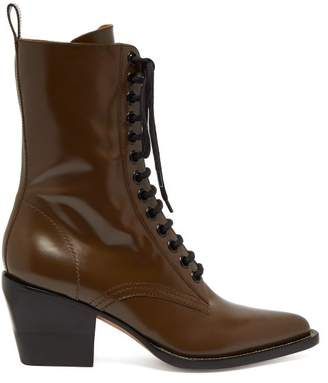 Chloé - Point Toe Lace Up Leather Boots - Womens - Khaki