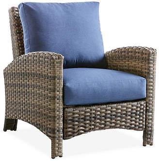 Panama Wicker Club Chair - Brown/Blue - South Sea Rattan