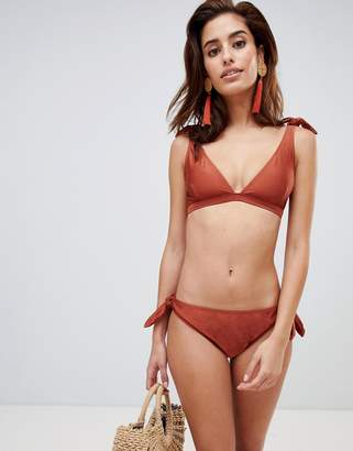 Warehouse bikini briefs with tie detail in rust