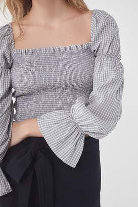Urban Outfitters Gingham Cinched-Sleeve Blouse