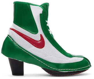 Comme des Garcons Green and White Nike Edition Heeled Boxing Boots