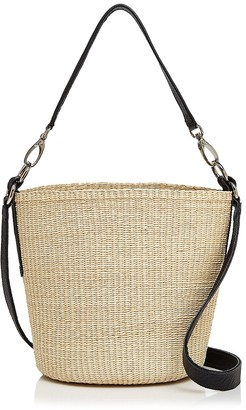 Sensi Studio Straw and Leather Crossbody