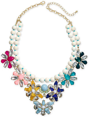 """INC International Concepts I.N.C. Gold-Tone Stone & Crystal Beaded Flower Statement Necklace, 18"""" + 3"""" extender, Created for Macy's"""