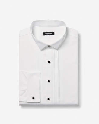 Express Slim Pleated Half Bib Tuxedo Shirt