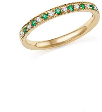 Bloomingdale's Emerald and Diamond Beaded Band in 14K Yellow Gold - 100% Exclusive