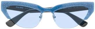 Miu Miu cat eye glitter sunglasses